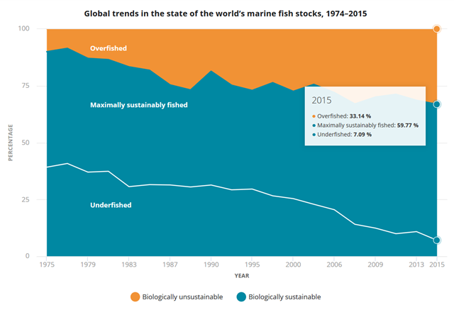 Global trends in the state of the world's marine fish stocks, 1974–2015. Graphic: FAO