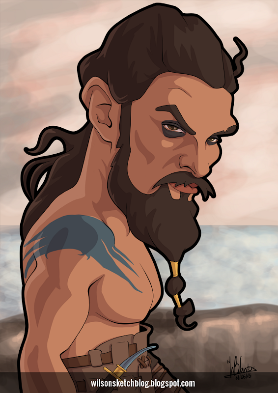Cartoon caricature of Jason Momoa as Khal Drogo.