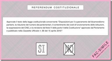 Scheda elettorale del Referendum Costituzionale