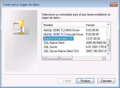 Crear origen ODBC de prueba para conexión con Oracle 12c desde Windows con Oracle Instant Client