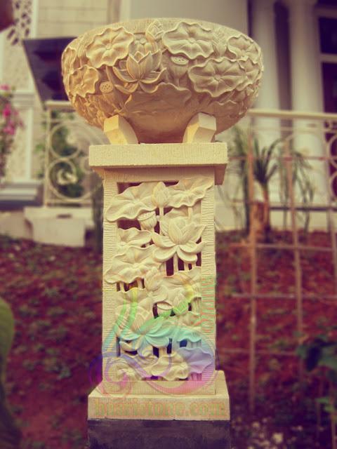Lampion taman dan cawan dari batu alam