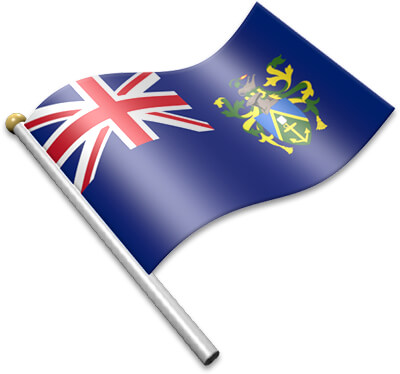 The Pitcairn Island flag on a flagpole clipart image
