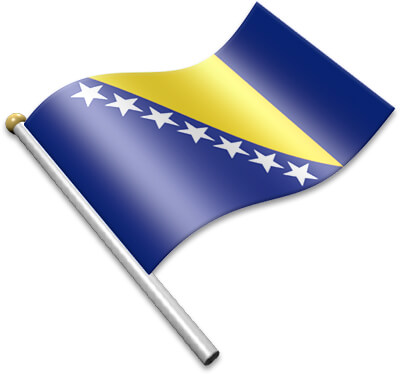 The Bosnian  flag on a flagpole clipart image