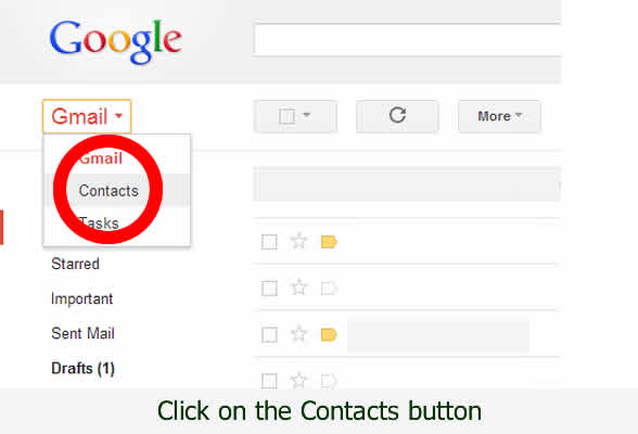 Click on the circled contacts list - pictorial by dorsetdog.com