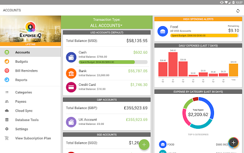 Expense IQ Money Manager Screenshot