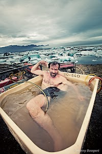 Wim Hof getting warmed up again after a swim in Iceland's waters.