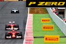 Kimi Raikkonen in front of Fernanado Alonso Ferrari F14T