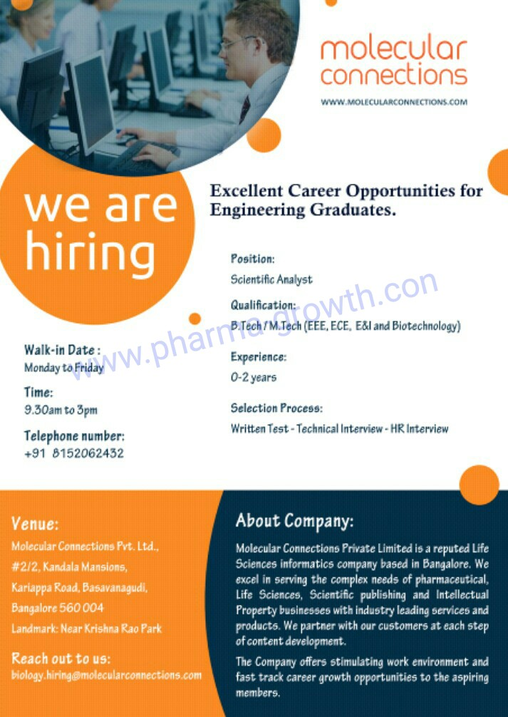 Molecular Connection - Urgently Opening for Fresher & Experienced   Apply Now