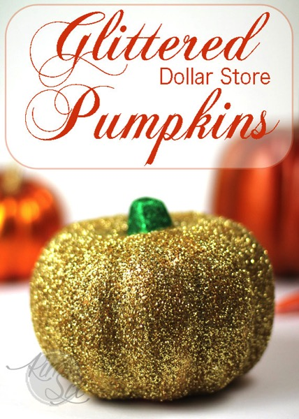 Gold Glittered Dollar Store Pumpkins