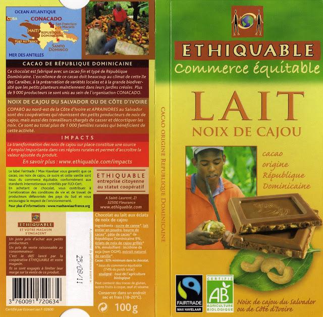 tablette de chocolat lait gourmand ethiquable république dominicaine lait noix de cajou