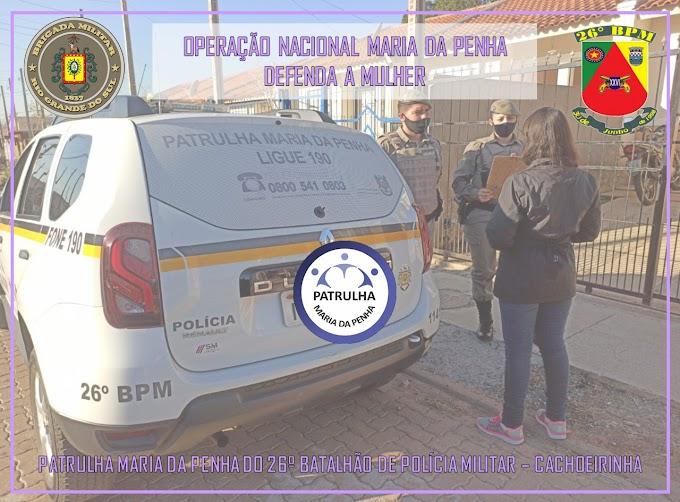"""BM de Cachoeirinha desencadeia """"Operação Nacional Maria da Penha -  Defenda a Mulher"""""""