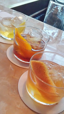 Renata Old Fashioned Flight included one rye with demerara, one bourbon with smoked maple. and one made with scotch and burnt honey