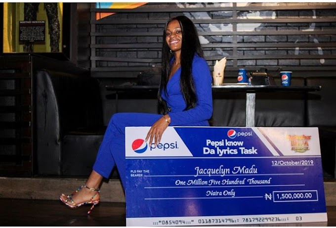 BBNaija's Jackye Receives N1.5m Cash For Winning Pepsi Lyrics Challenge