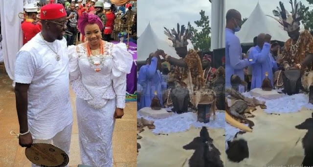 Traditional Ruler Spotted Spraying Dollars On A Rev. Father At Obi Cubana's Mother's Burial [Video]