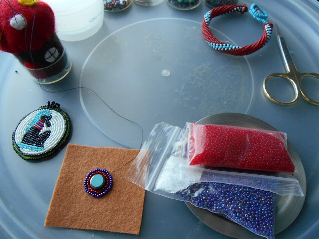 Bead Embroidery Medallions in Progress