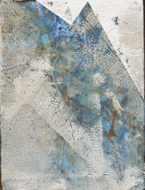 "'Sea Scrape-Splash' 3""x4"" Monotype, oil and sterling silver leaf on panel"