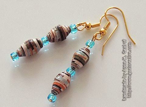 Gold and Blue Paper Bead French Hook Earrings handmade by Anne Gaal of http://www.gaalcreative.com