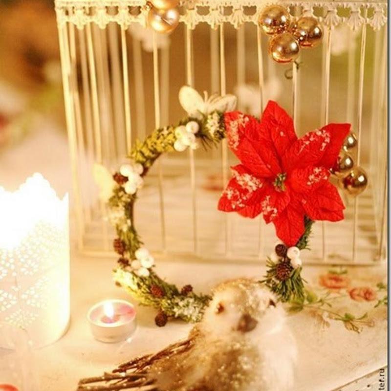 Manualidades corona navidad con flor de Nochebuena