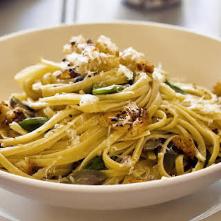Linguine with White Anchovies and Sicilian Olives.