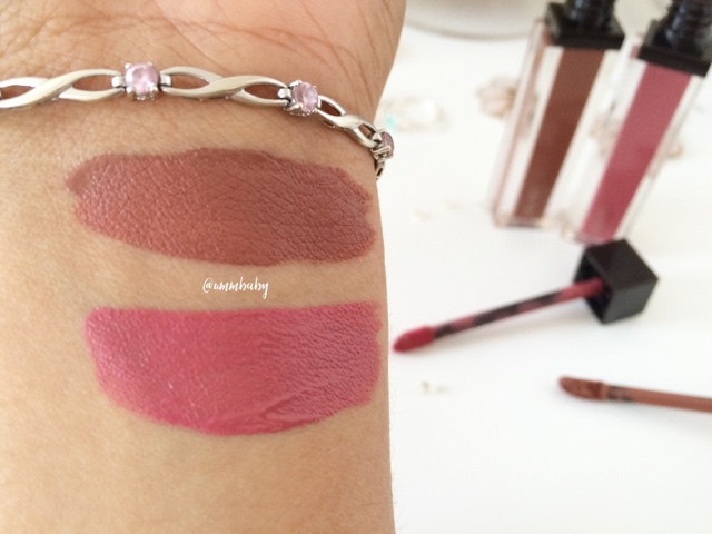 NC40 swatches jouer lip cream noisette petale de rose swatch