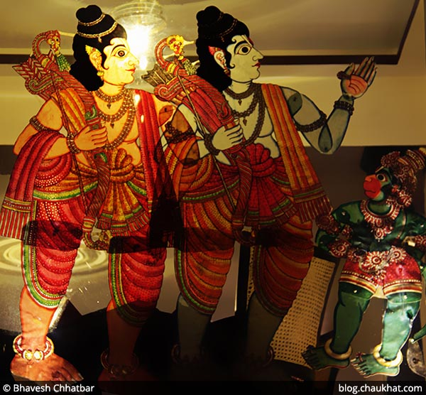Painting showing Laxman, Ram and Hanuman, at Savya Rasa [Koregaon Park, Pune]