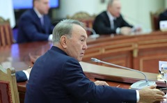 Nursultan Nazarbayev at the meeting of the Supreme Eurasian Economic Council.