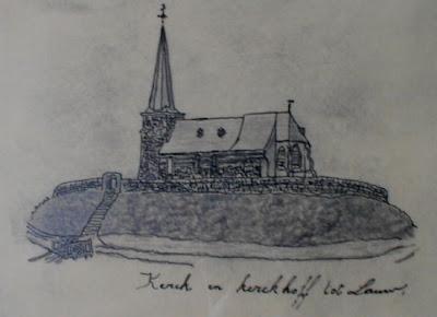 Oude tekening van de oude kerk van Lauw (Tongeren) met weergave van de kerkhofmuur.