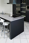 Polished Divinity Medium Grey kitchen worktops with 20 + 20mm Edge profile