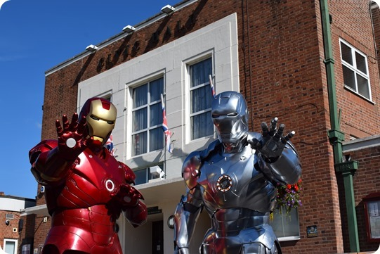 Iron Man (Mark II and Mark III) outside the venue