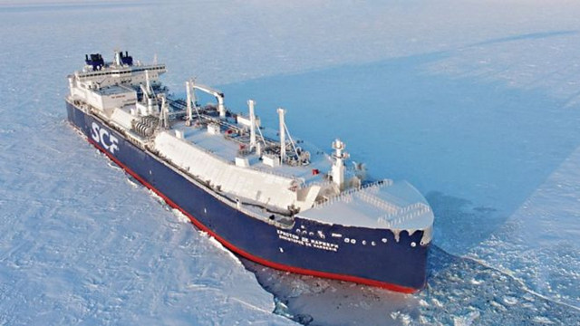 Aerial view of the first commercial LNG tanker to cross the Arctic without an icebreaker. The 300-metre-long Sovcomflot ship, the 'Christophe de Margerie', was carrying gas from Norway to South Korea. Photo: Sovcomflot