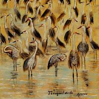 a flock of Eurasian Cranes