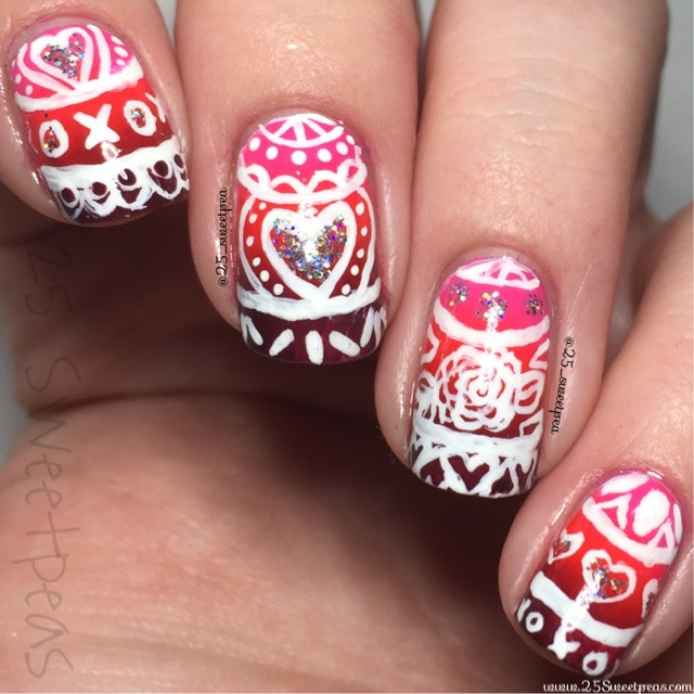 Valentines Day Lacey Tribal Nail Art 25 Sweetpeas