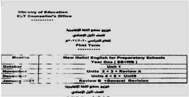 توزيع منهج اللغة الإنجليزية للصف الأول الإعدادي الترم الأول 2021 بصيغة pdf