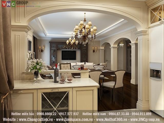 Thiết kế nội thất chung cư phong cách tân cổ điển chung cư golden place