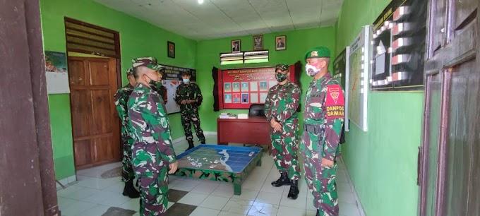 Dansatgas Pamtas Yonif 742/SWY Dampingi Wadanpussenif Kodiklat TNI AD Kunjungi Pos