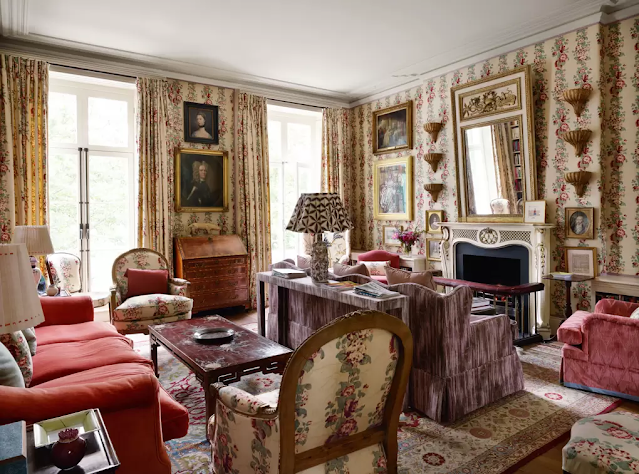 chintz filled living room