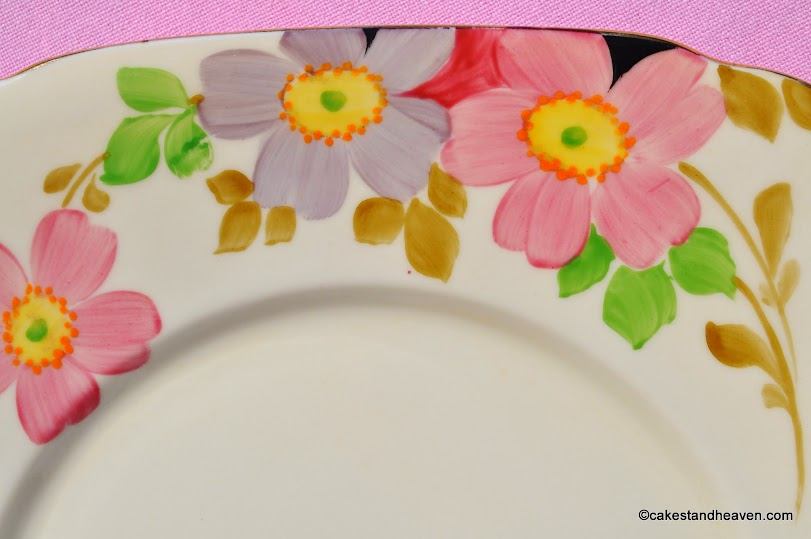 Roslyn China hand painted cake plate pattern