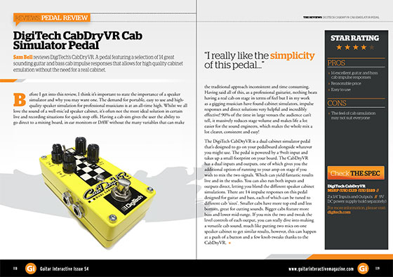 Guitar Interactive 'highly recommend' the DigiTech CabDryVR Cab