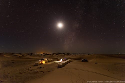 Desert camp by night Morocco Travel talk sahara