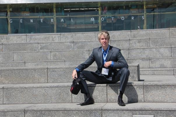 Alex Lesli Waiting For Meeting Before General Motors Office, Alex Lesley