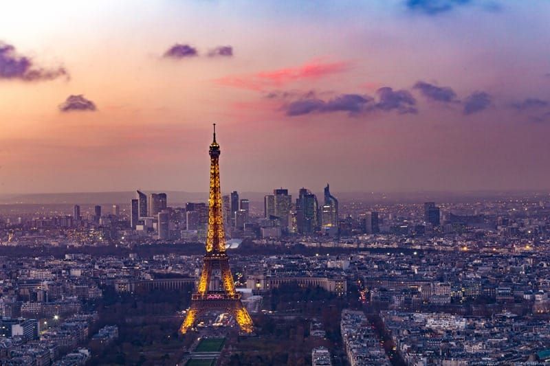 Eiffel tower and la defense from tour montparnasse