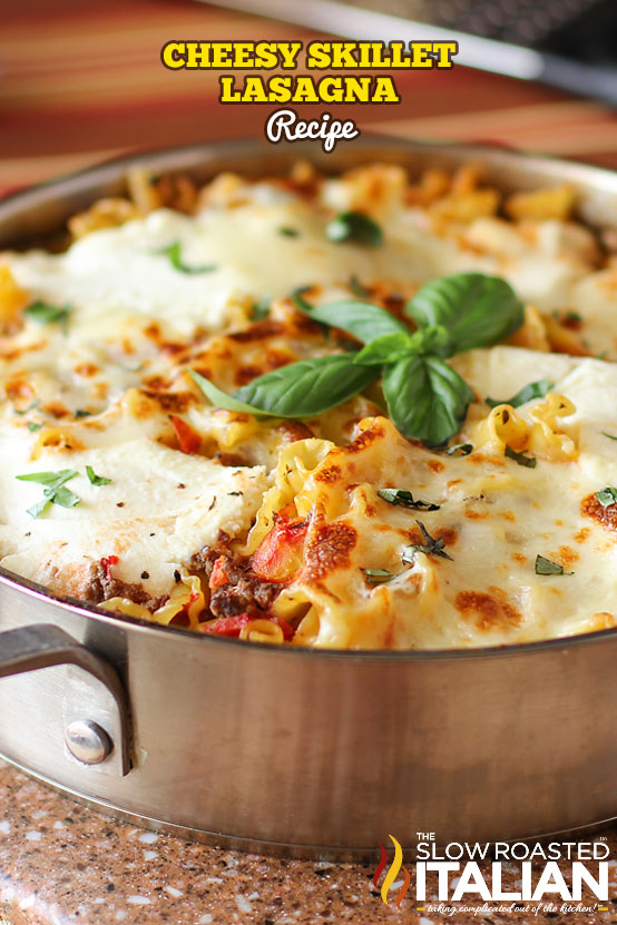 Skillet lasagna with basil on top