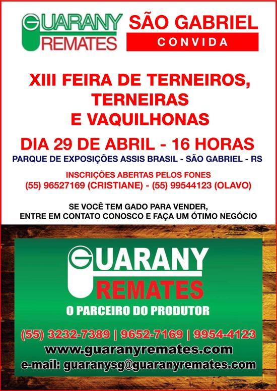 29-04-2016 13ª Feira de Terneiros, Terneiras e Vaquilhonas - Guarany Remates