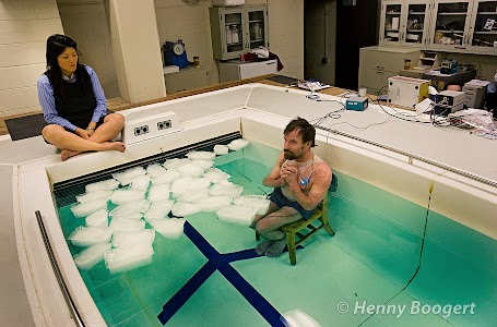 Wim Hof the iceman at the medical university in Duluth in VS, 2008 January.