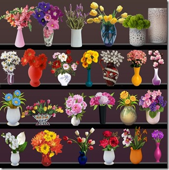 flowers stick in vase png