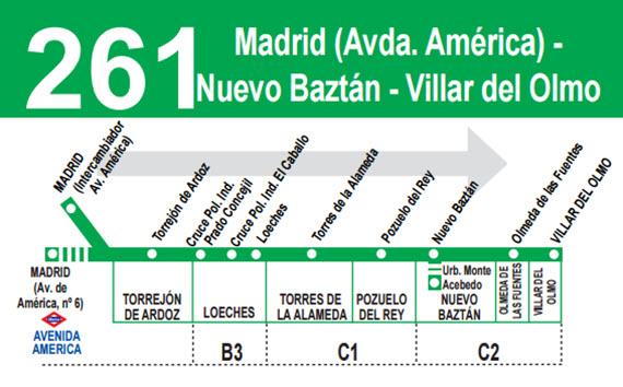 Mejora de la línea 261 de autobuses interurbanos, que conecta Madrid con Villar del Olmo