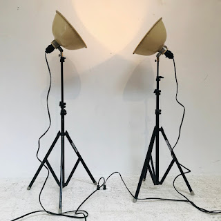 Vintage Victor Tripod Photography Lamp Pair