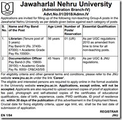 JNU Non Teaching Notification 2018 www.indgovtjobs.in