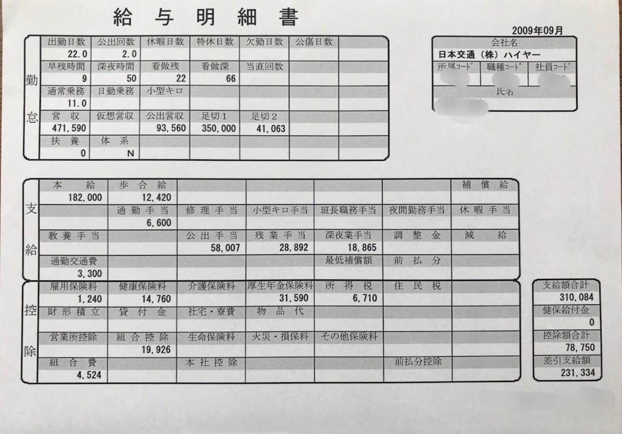 タクシー給料明細 2009年9月