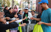 Andrew helps pass out reusable water bottles for NYC tap water!